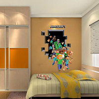 Mozaïek Game Thema Minecraft Muurstickers Voor Kinderkamer Home Decoration 3d Venster Pvc Steve Muurschilderingen Diy Jongens Muur decal Poster