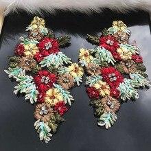 Boncuklu Elmas Çiçek Nakış Kumaş Yamalar Kristal Aplike Elbise Dikiş Scrapbooking için Motif Rozetleri