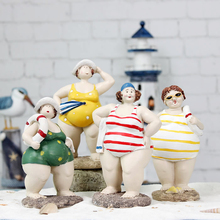 Mediterranean Style Resin Bikini swimsuit Fat Woman Figurine 1PC Creative Doll Home Room Decor Crafts Gifts