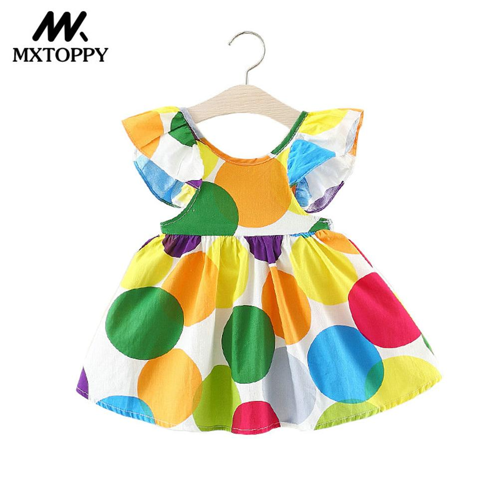 MXTOPPY Baby Girls Dress 2018 Summer Floral Princess Baby Dress Childrens Birthday Party Dress For Baby Girls