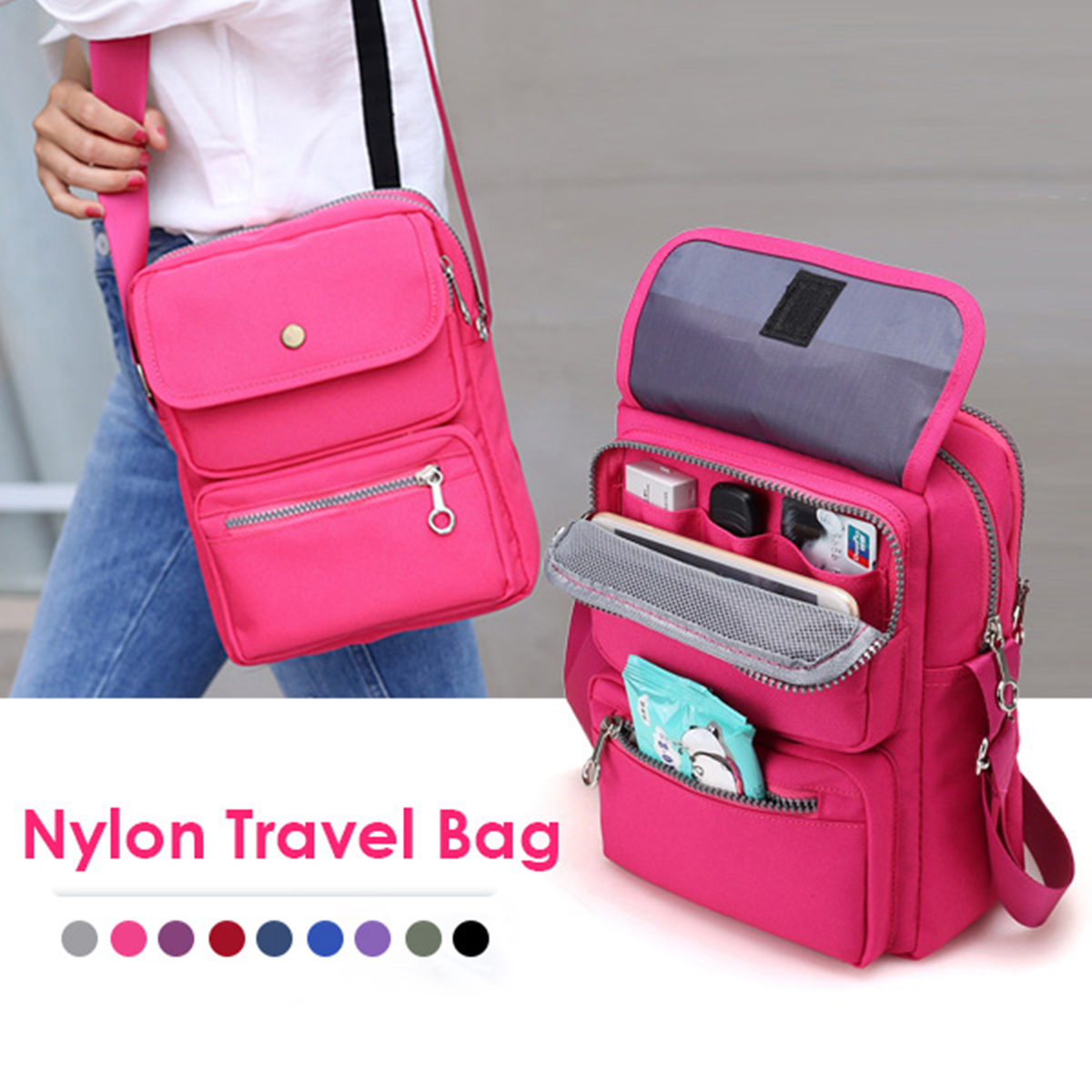 Nylon Small Crossbody Bag Female Messenger Bags Casual Style Lady Flap Satchel Women Handbag Bolsa Purse Girls Cellphone Pockets