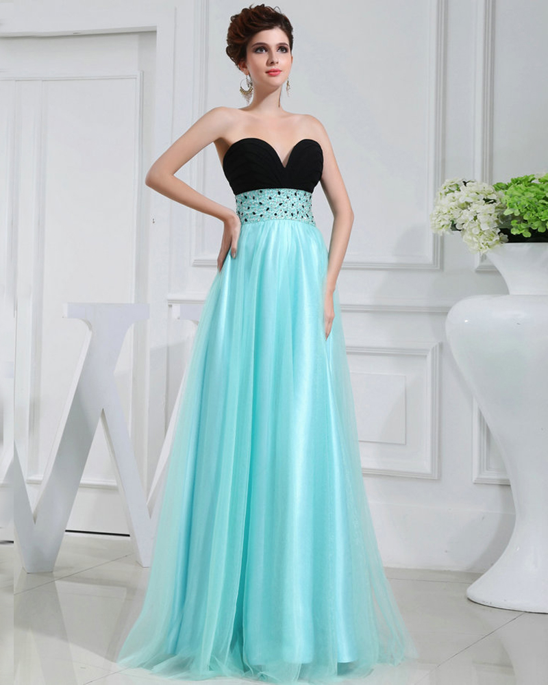 REAL MODEL Long Beautiful Prom Dresses Blue Tulle robe de soiree ...