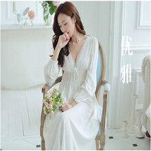 2017 sleep lounge women sleepwear cotton nightgowns sexy lace long robe home dress white nightdress