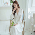 2017 Sleep Lounge Women Sleepwear Cotton Nightgowns Sexy Lace Long Robe Home Dress White Nightdress Plus Size