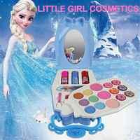 22 pièces Disney glace princesse maquillage boîte jouets ensemble Mini Portable jouer maison cosmétiques outil jouet pour enfants enfants filles cadeau de noël