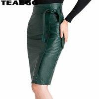 TEAEGG Faux Leather Skirt Women Autumn Winter Slim Mid Long Skirts Womens 2019 Dark Green Slim Pencil Skirt Faldas Mujer AL434