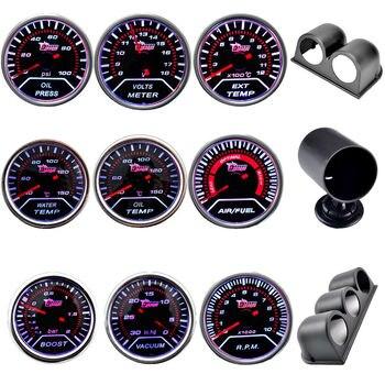 Boost/Vacuum/temperatura del agua/temperatura del aceite/Prensa de aceite/voltaje/tacómetro/relación de combustible del aire/indicador de EGT + vainas de calibre 52mm