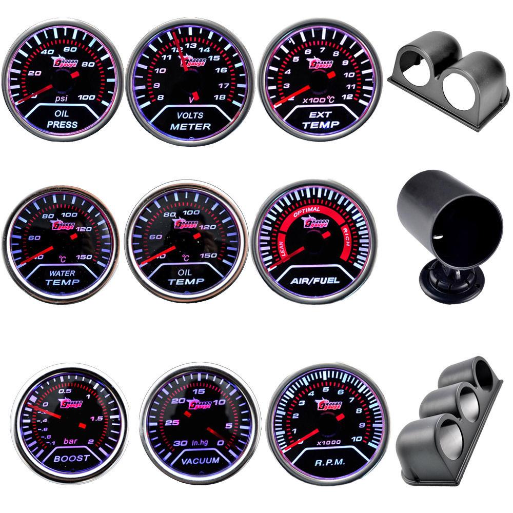 Boost/a vácuo/temp de água/temp de óleo/prensa de óleo/tensão/tacômetro/relação de combustível para ar/egt gauge + gauge vagens 52mm analógico led branco caso