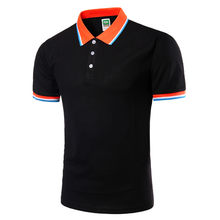 Fashion Short Sleeve Men's Turn-down Collar Casual Shirt Tops polo shirt(China)