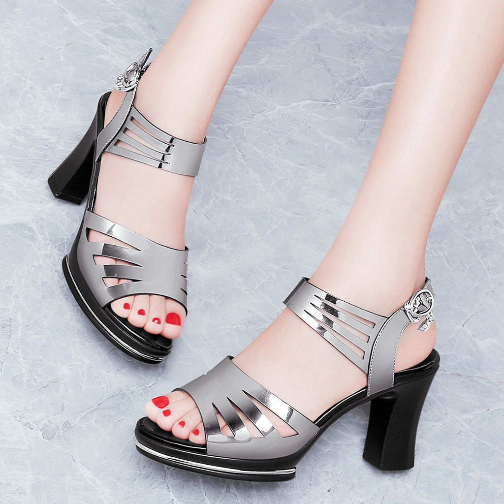 2019 sandals womanshoes woman leather square heel High Heel Ladies  Open Toe Fashion Hollow Out Buckle Causal Shoes Sandals2019 sandals womanshoes woman leather square heel High Heel Ladies  Open Toe Fashion Hollow Out Buckle Causal Shoes Sandals