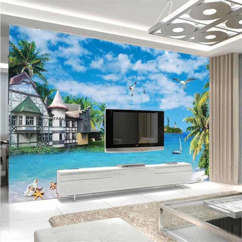 Beibehang Custom Fresco Wallpaper Of Any Size Seascape Coco House Island Sailing Background Wall Papel De Parede Wallpaper
