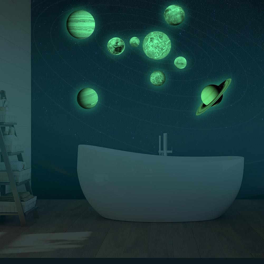 Светится в темноте 30 см круглый планет звезда ПВХ наклейки на стену для детей стены, потолок декоративные Стикеры для спальни сделай сам, виниловый арт росписи