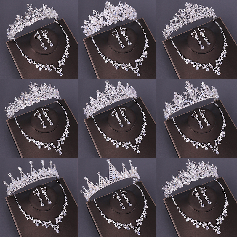Many Design Silver Tiara And Crowns Crystal Pearl Women Hair Jewelry Handmade Queen Princess Diadem Zircon Necklace Earrings Set