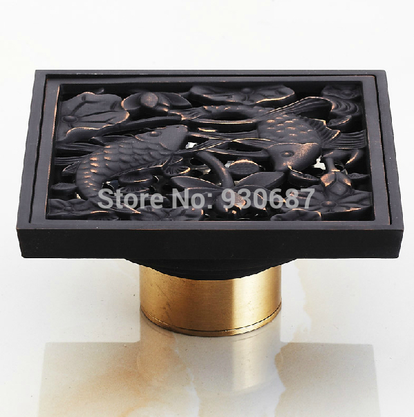 Free Shipping Fish Carved Oil Rubbed Bronze Bathroom Floor Drain Shower Drain free shipping neca the terminator 2 action figure t 1000 galleria mall figure toy 718cm mvfg037