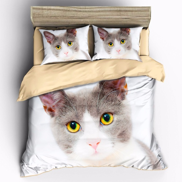 AHSME high-definition print Can be customized King Queen Full Double Twin Single Quilt cover Cute Cat bedding set