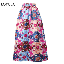 2018 Summer Traditional Flower Print Skirts Faldas Largas Vintage Maxi Long African Asymmetric Skirt Purple Blue Pink Red