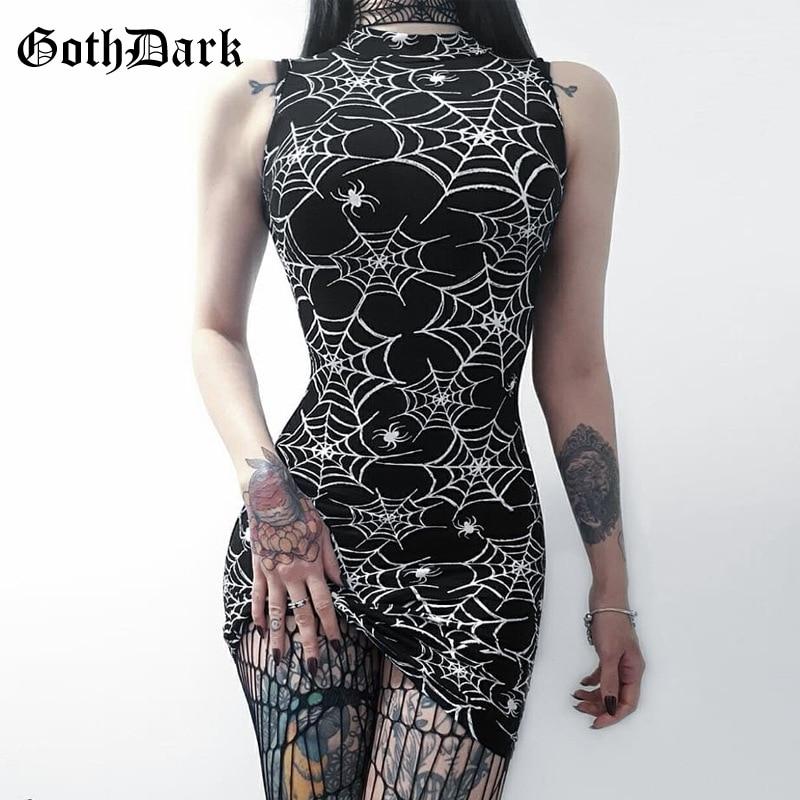 Goth Dark Aesthetic Spider Web Print Bodycon Dresses For Female Gothic Elegant Vintage Halter Sexy Summer 2019 Women Dresses