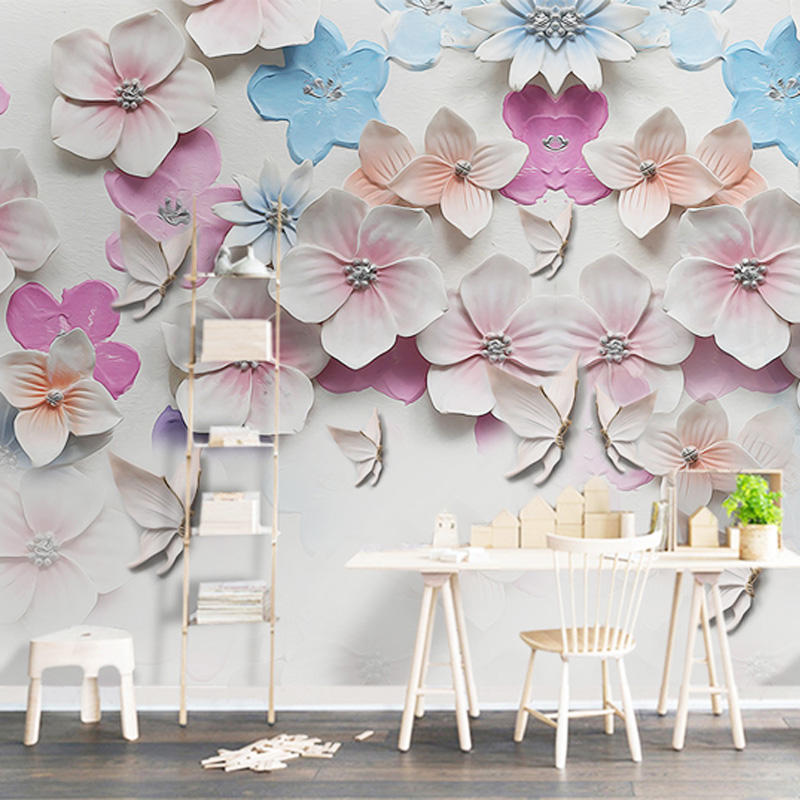 3D Wallpaper Stereo Relief Peach Blossom Flowers Mural Living Room TV Sofa Backdrop Wall Decor Wall Paper Papel De Parede Floral