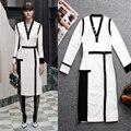 Spring Autumn Fashion Women's 2016 Plus Size 4XL Straight Patchwork Dress Sexy V-neck Brief Stretchy Sheath Dresses High Quality