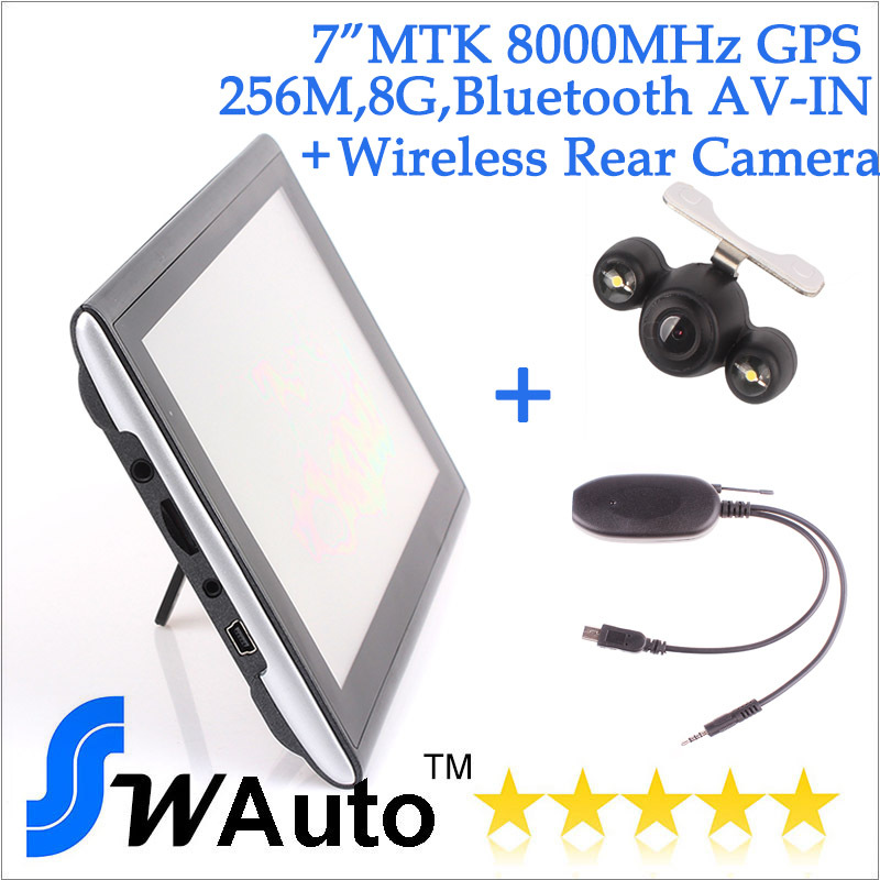"7"" 256M 8G Bluetooth AV IN GPS Navigator+wireless night vision car rear view camera,car gps navigator"