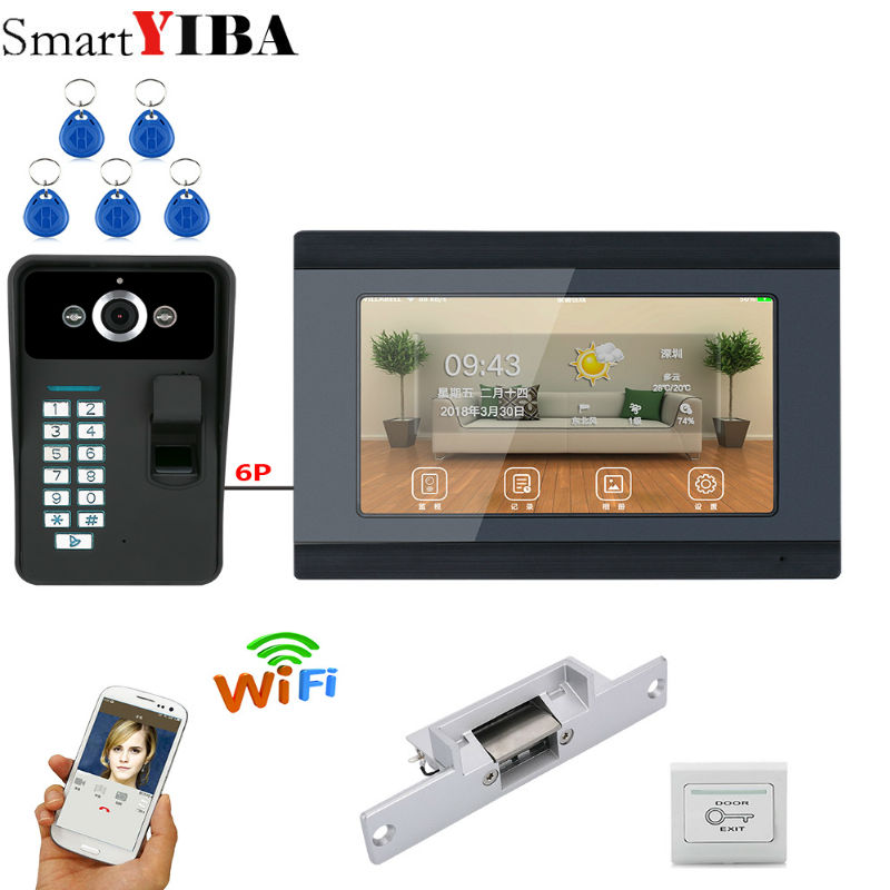 7 Inch Wired/Wireless Wifi Fingerprint Video Door Phone Doorbell Intercom System With Electric Strike Lock IR-CUT HD 1000TVL Cam