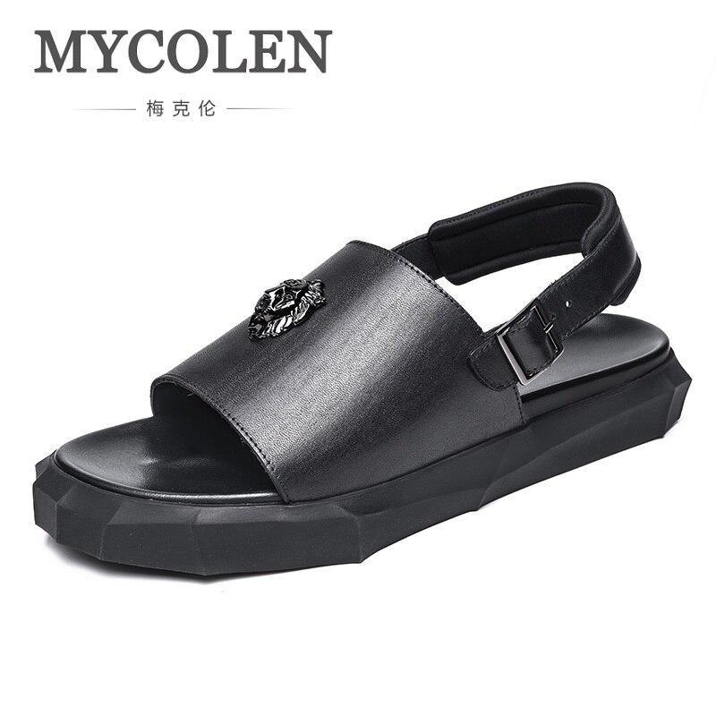 MYCOLEN 2018 Summer Men's Comfort Beach Sandals Outdoor High Quality Casual Shoes Sandals Men Genuine Leather Erkek Sandalet
