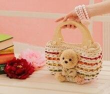 Деревянный медведь полосатый соломы сумки мешок пляжная сумка мешок соломы тростника пакет праздники