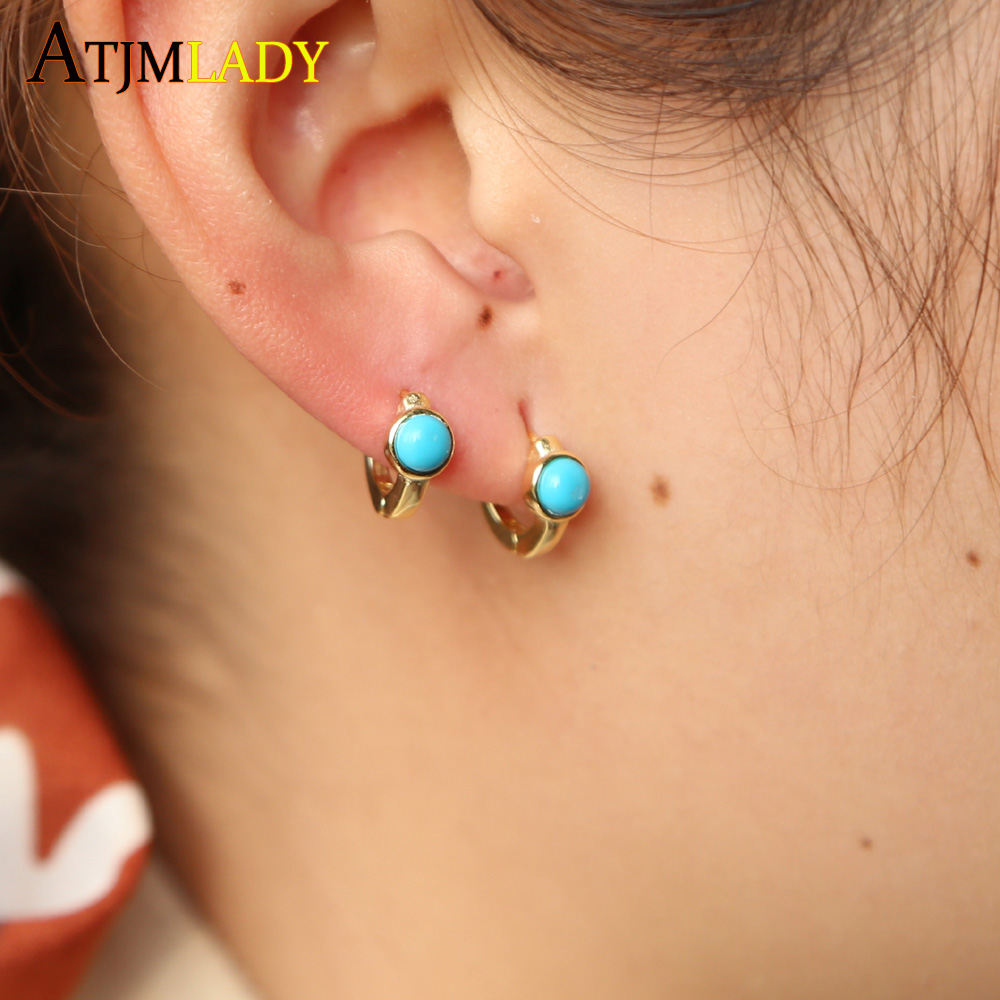 mini small huggie hoop single stone simple design for young girl ladies turquoises delicate minimal circle 925 silver earring