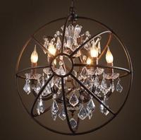 Loft Vintage American Rural Orb Globe Crystal Ring Pendant Light Rustic Creative Clothing Store Restaurant Iron