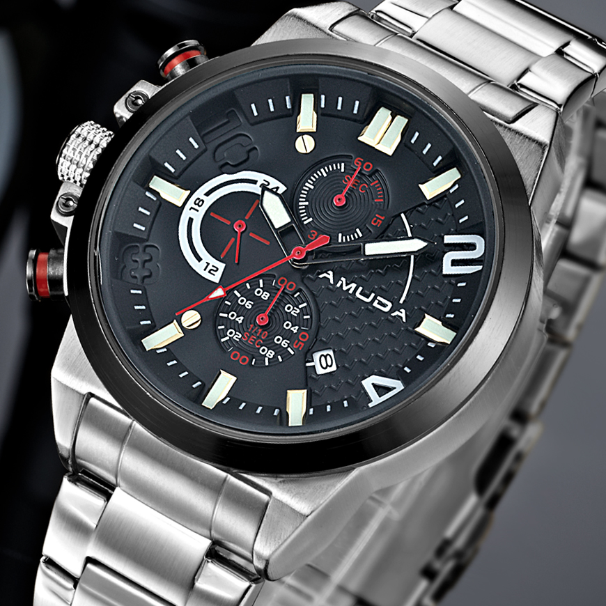 AMUDA Original Quartz Men Watch Big Dial Nylon Band Sports Military Watches Clock Men Chronograph Wristwatch Relogio Masculino oulm men watch multi movt numbers straps hours marks big dial full steel band men quartz military wristwatch relogio masculino
