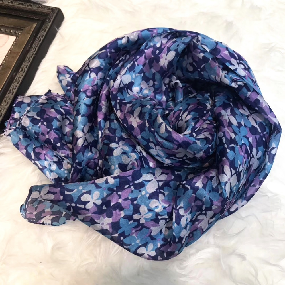 [BYSIFA] New Purple Blue 100% Mulberry Silk   Scarf   Shawl 2018 New Elegant Floral Long   Scarves     Wraps   Fall Winter Utralong Scarve