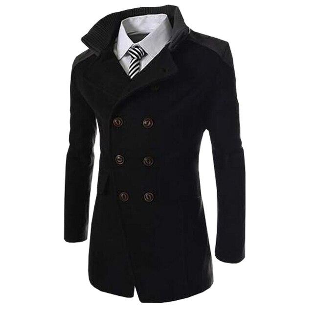Осень Длинные Шерстяное пальто Для мужчин модные отложной воротник полушерстяные двубортный бушлат куртка Для мужчин бренд пальто