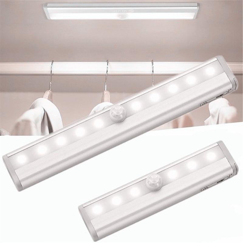 Wireless PIR Motion Sensor Night Light 6/10 LEDs Infrared Lamp Cold/Warm White Portable Closet Kitchen Lights