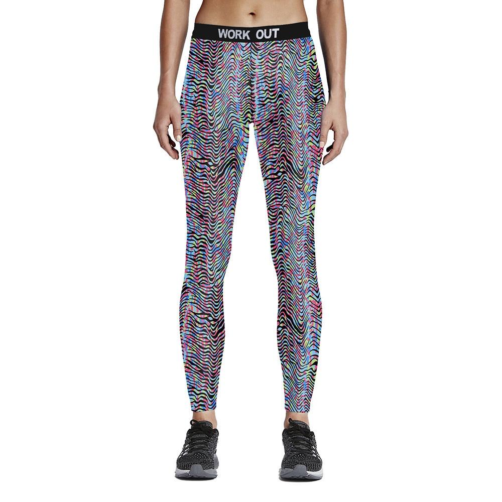 Unisex Colorful Contour Line Fitness Leggings High Waist Elastic Fiber Aerobic Exercise Workout Pants Full Size S-4XL