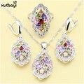 XUTAAYI Flores Moda 925 Conjuntos de Jóias de Prata Para as mulheres Multicolor Pedras Criado Topázio Casamento Doce Colar/Anéis/Brincos