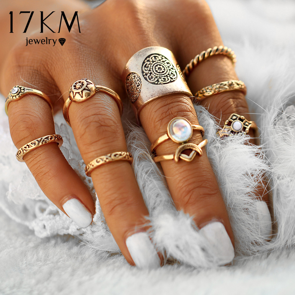 17KM New 9 pcs set Vintage Silver Color Ring Sets Antique Midi Finger Rings for Women