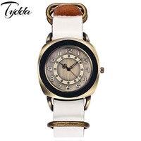 Tydda Brand Men Fashion Creative Vintage Cow Leather Bracelet Watches Casual Women Quartz Watch Female Clock Relogio Masculino
