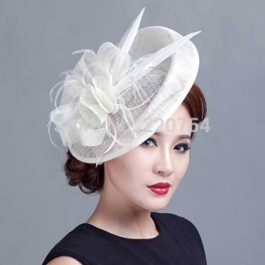 36f4f01143d04 Ladies large ivory feather sinamay hat women hair accessories fancy  fascinators for wedding party and races