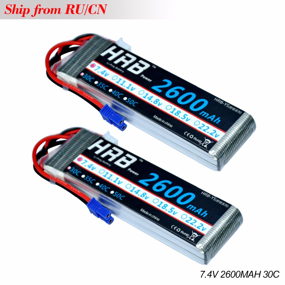 2PCS HRB Lipo 2s Hubsan H501S 4-xis Battery 7.4V 2600mah 30C Max 60C EC2 plug Drone Akku For RC Quadcopter Helicopter Airplane 7 4v 2700mah 10c battery 1 in 3 cable usb charger set for hubsan h501s h501c x4 rc quadcopter