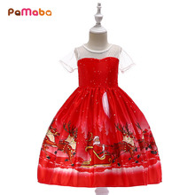 PaMaBa Kids Santa Claus Clothes Party Wear Christmas Dresses for Girls Children Festival New Year Costume Father Dress