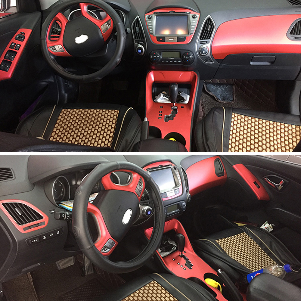 For Hyundai Ix35 2010-2017 Interior Central Control Panel Door Handle 3D/5DCarbon Fiber Stickers Decals Car Styling Accessorie