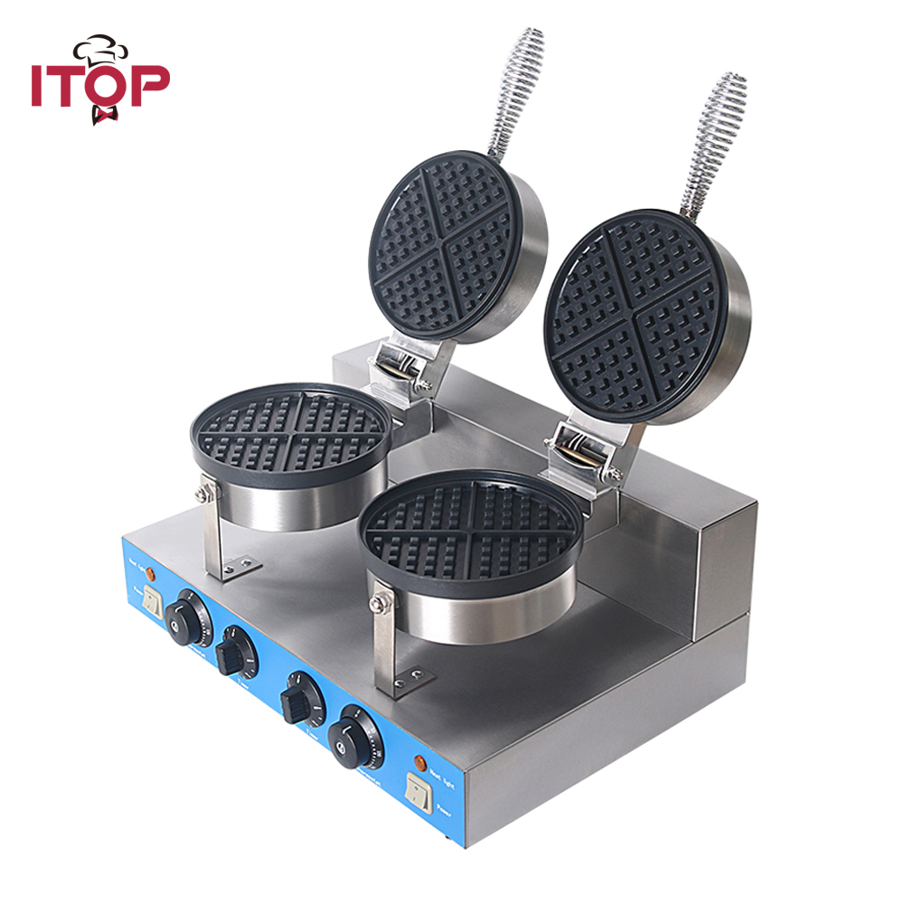 ITOP Professional Commercial Electric waffle maker machine,2000W Non-stick Waffle Baker bubble Cake Oven Machine 220V