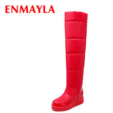 ENMAYLA Black Red White Blue New Boots Winter Snow Over-the-Knee Boots Women Warm Fur Flats Platform Long Boots Shoes Woman(China)
