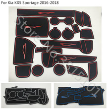 цена на car inner Groove Gate Slot Armrest Storage Rubber non-slip mats mat door pad cup 16pcs For Kia Sorento 2015 2016 2017