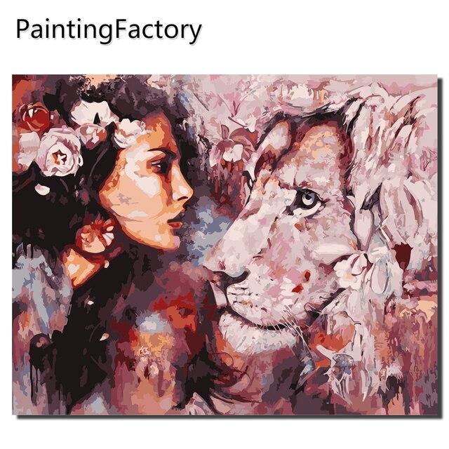 PaintingFactory Frameless Hình Ảnh Tranh Số Bằng Số Handpainted Trên Vải TỰ LÀM Dầu Con Số Màu Sắc Người Phụ Nữ với sư tử quà tặng