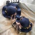 Primavera e verão chapéu criança criança do sexo feminino onda ativistas garland handmade tela de sol do bebê strawhat cap praia-sol sombreamento