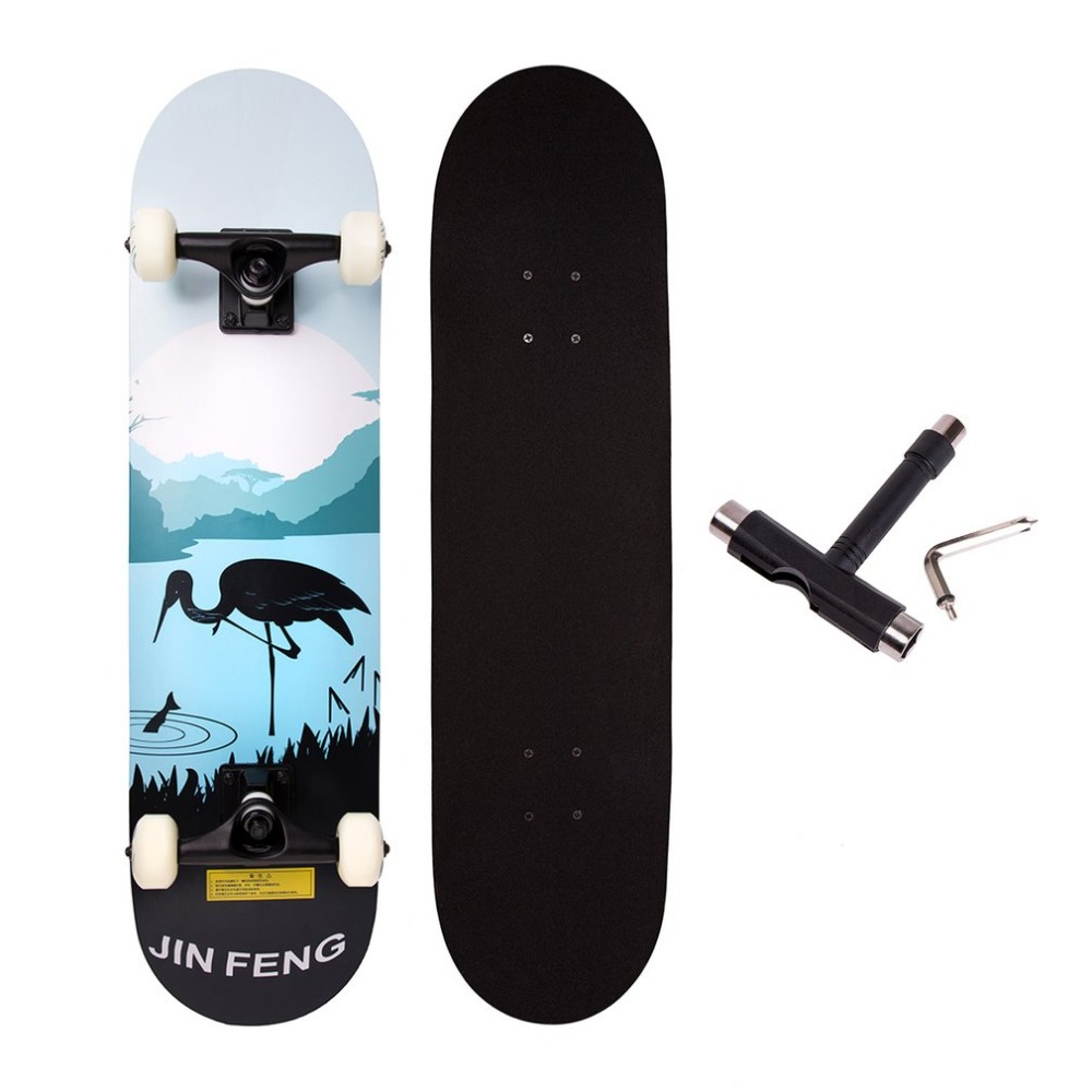 Two Bare Feet Double Kick Complete Skateboard Cruiser 31 x 8 Concave Deck Outdoor Extrem ...