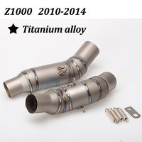 High quality Motorcycle Exhaust middle pipe titanium alloy pipe Round Muffler Z1000 2010 2014 link pipe