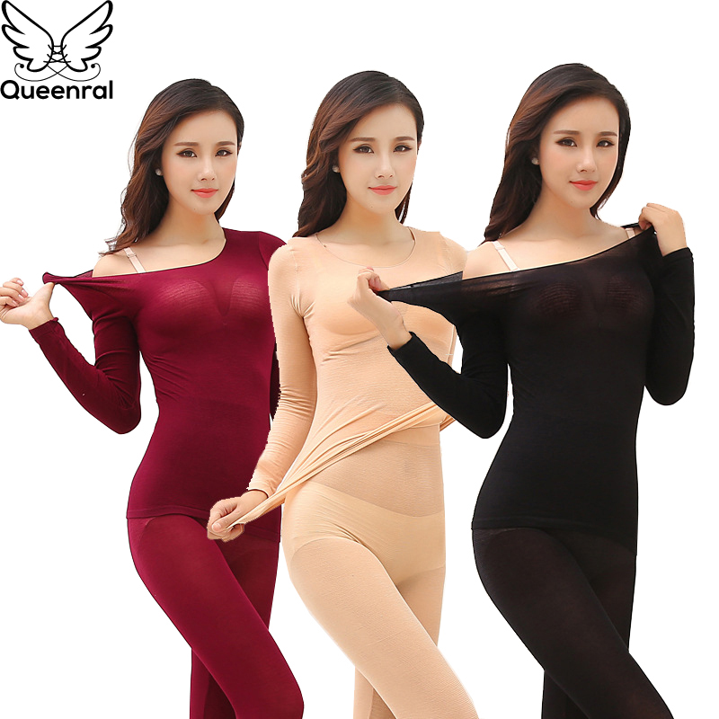 Queenral Thermal Underwear Men Women Long Johns Winter Ultra Thin Seamless Shape Slimming Thermal Underwear Male Female