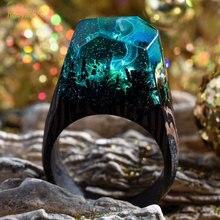 Handmade Secret undersea world Wooden Resin Rings Blue Miniature World Inside Ring  Elegant  for Women Men Gift Jewelry